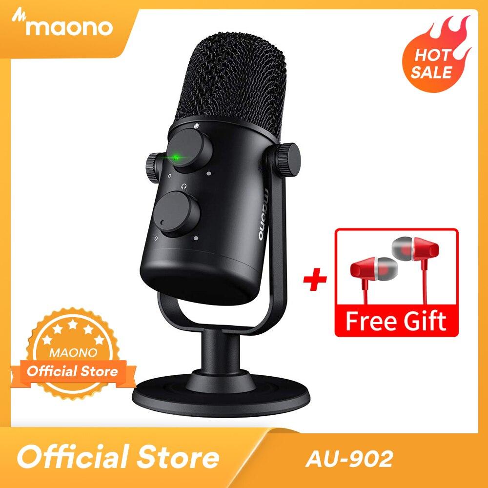 MAONO AU-902 USB Condenser Microphone Cardioid Sreaming mikrofon Podcast Studio Mic Metal Recording microfone for YouTube Skype